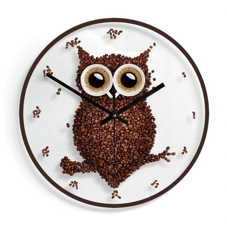 Orologio in vetro - Civetta di caffè