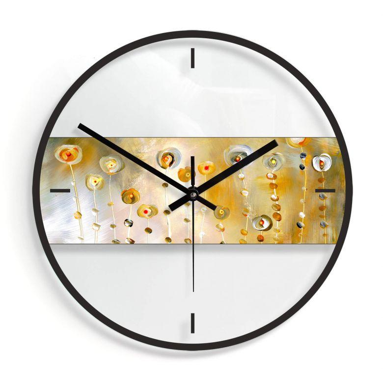 Wanduhr aus Glas - Niksic - Golden Eye Ø30 cm