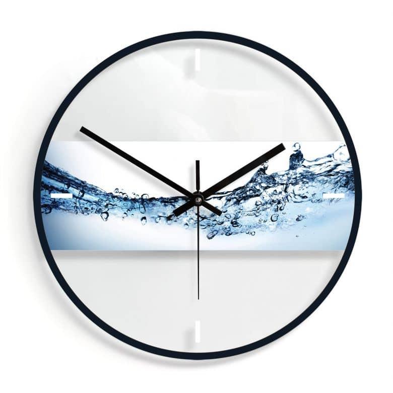 Wanduhr aus Glas - Water Flow Ø30 cm