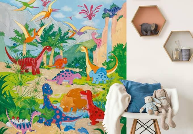 fototapete papiertapete dino welt die kinder tapete f r kleine dinosaurier fans wall. Black Bedroom Furniture Sets. Home Design Ideas