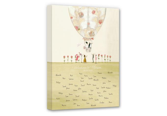 Tableau sur toile Leffler - Montgolfière mariage + texte à personnaliser