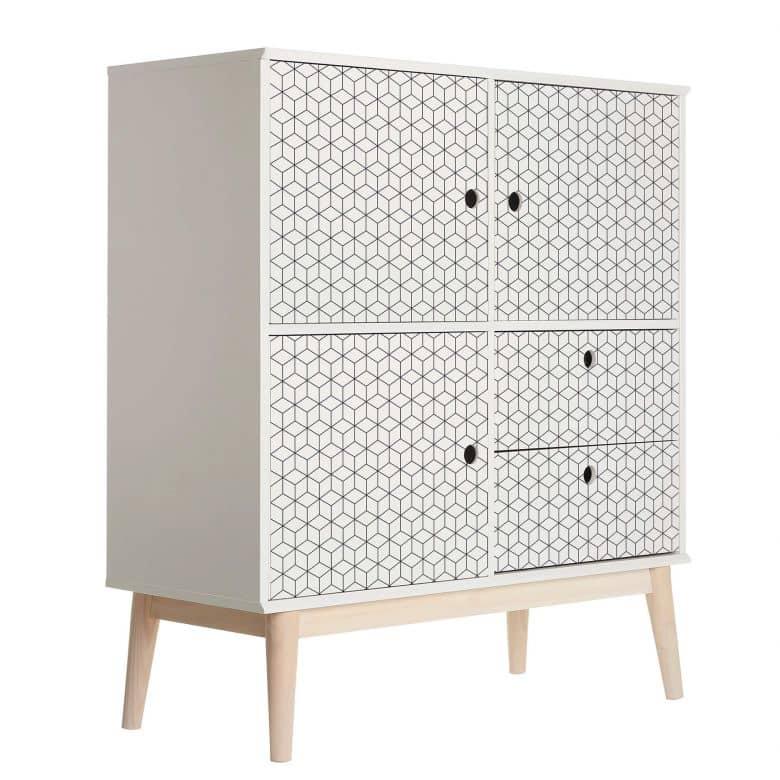 Sticker meuble, Film décoratif adhésif - lavable - Structure de cubes
