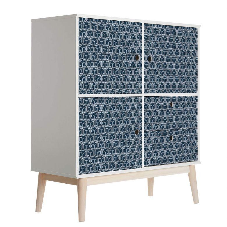 Sticker meuble, Film décoratif adhésif - lavable - Cube