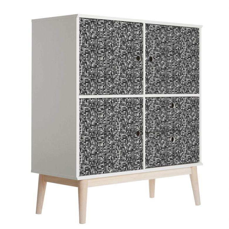 Möbelfolie, Dekofolie - abwischbar - Mosaik Schwarz-Weiß