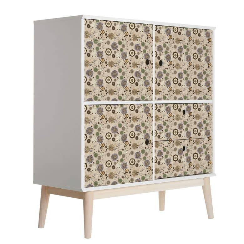 Sticker meuble, Film décoratif adhésif - lavable - Fleurs rétro