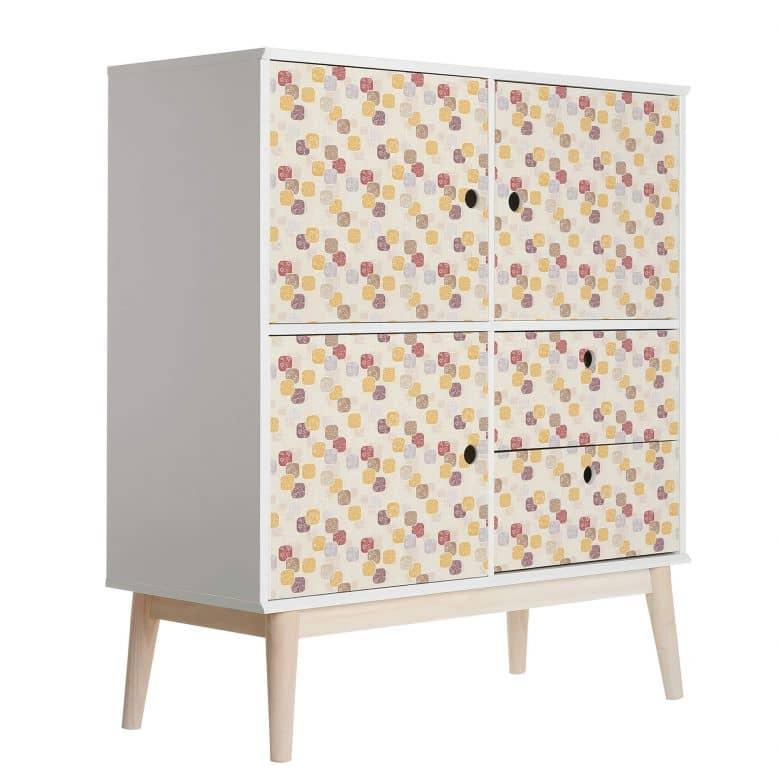 Sticker meuble, Film décoratif adhésif - lavable - Carrés rétro
