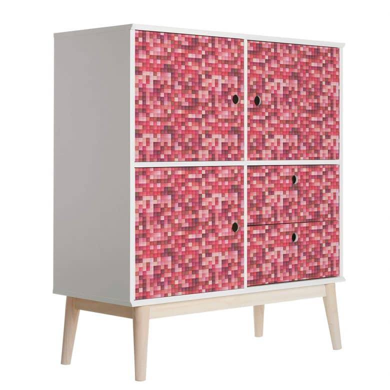 Möbelfolie, Dekofolie - abwischbar - Rotes Mosaik  02