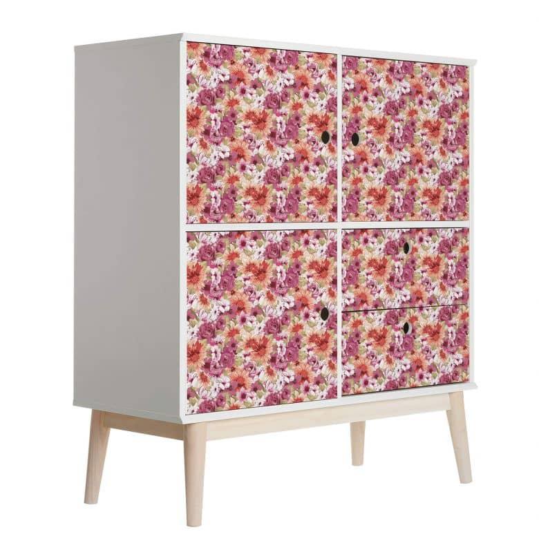 Sticker meuble, Film décoratif adhésif - lavable - Fleurs vintage 02