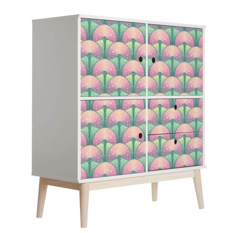 Sticker meuble, Film décoratif adhésif - lavable - Eventails