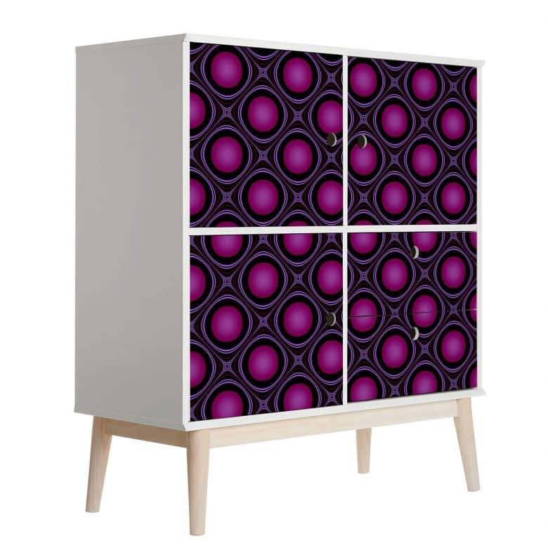 Sticker meuble, Film décoratif adhésif - lavable - Bulles roses