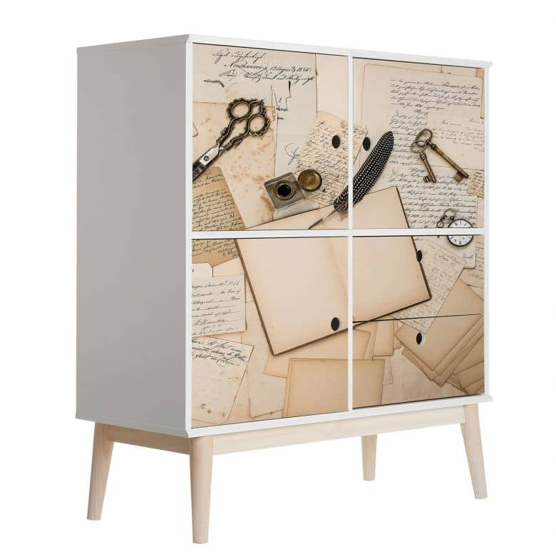 Sticker meuble, Film décoratif adhésif - lavable - Vieilles lettres 01