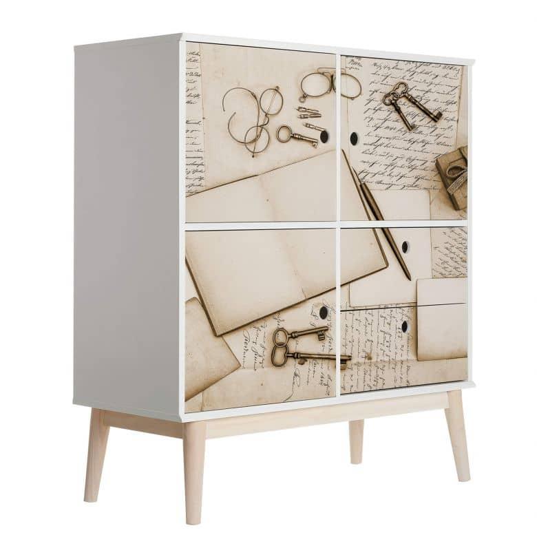 Sticker meuble, Film décoratif adhésif - lavable - Vieilles lettres 02