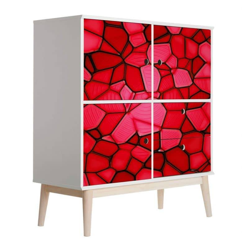 Möbelfolie, Dekofolie - abwischbar - Rotes Mosaik