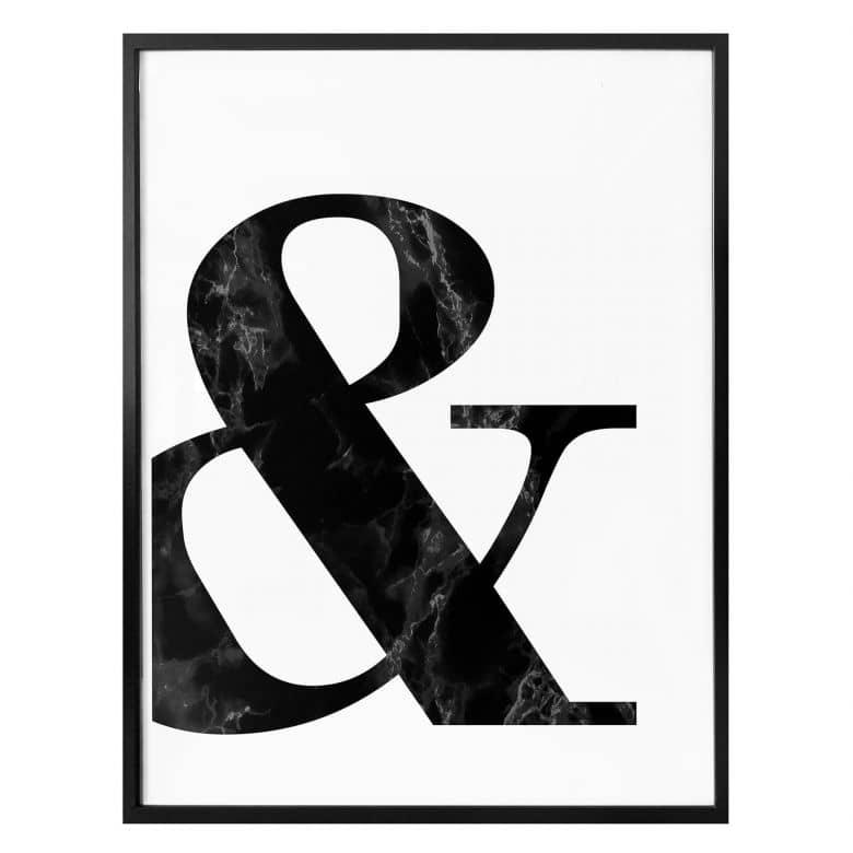 Affiche Esperluette marbre noir