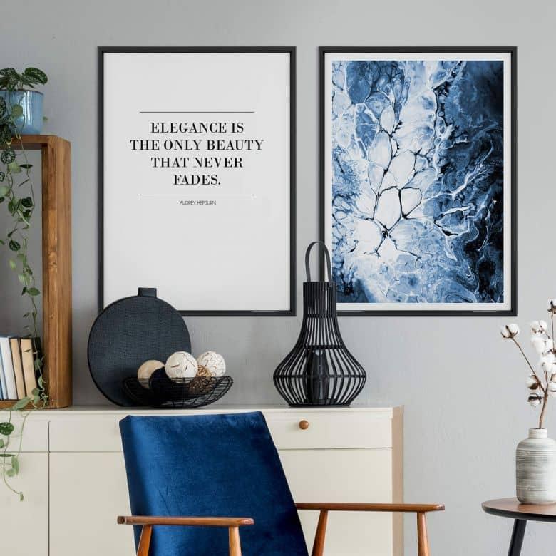 Poster-Set mit Bilderrahmen Blaue Eleganz (2er Set)
