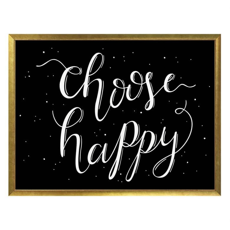Poster Choose Happy - schwarz negativ