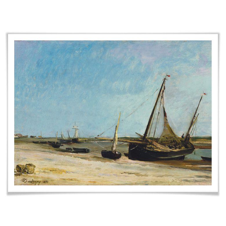 Poster Daubigny - Boote am Strand von Ètaples