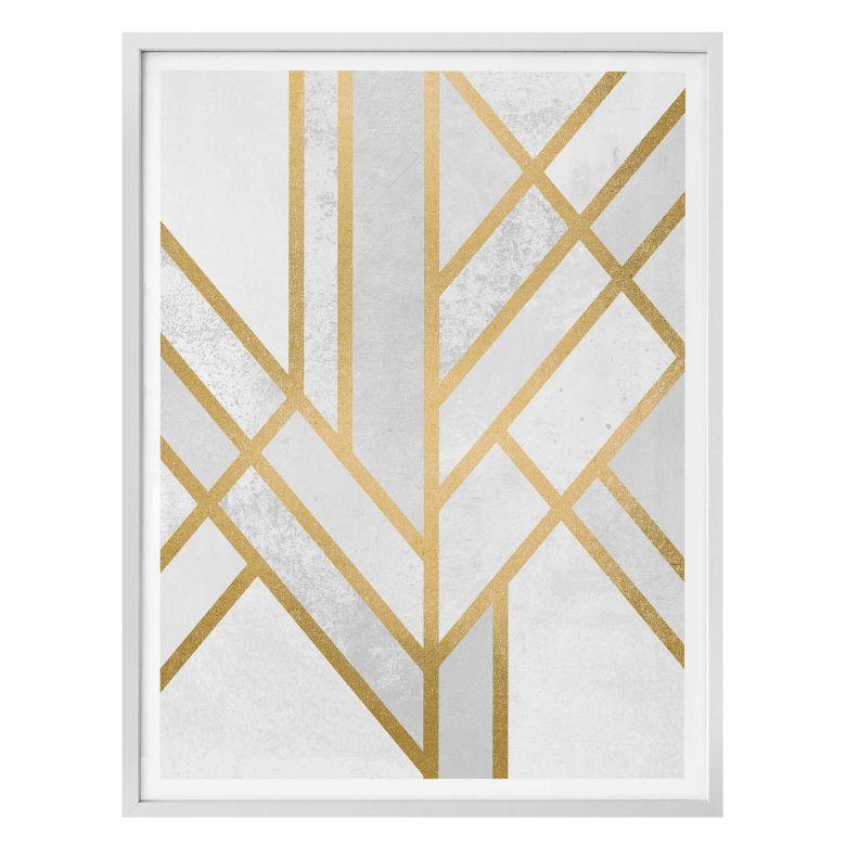 Poster Fredriksson – Art Deco: geometrie color oro