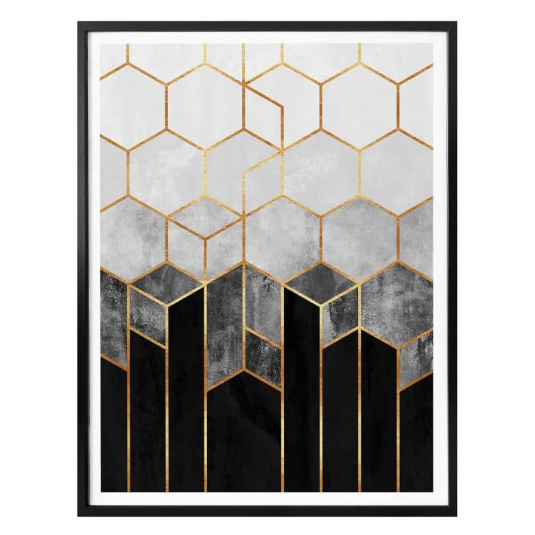 Poster Fredriksson - Hexagon Love - Black and Grey
