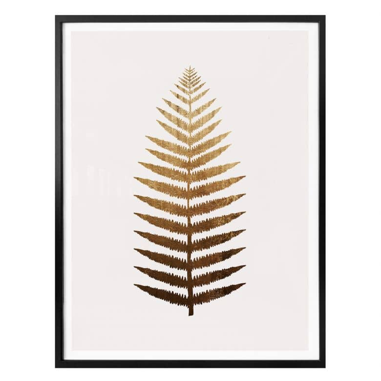Poster Kubistika – Goldener Farn