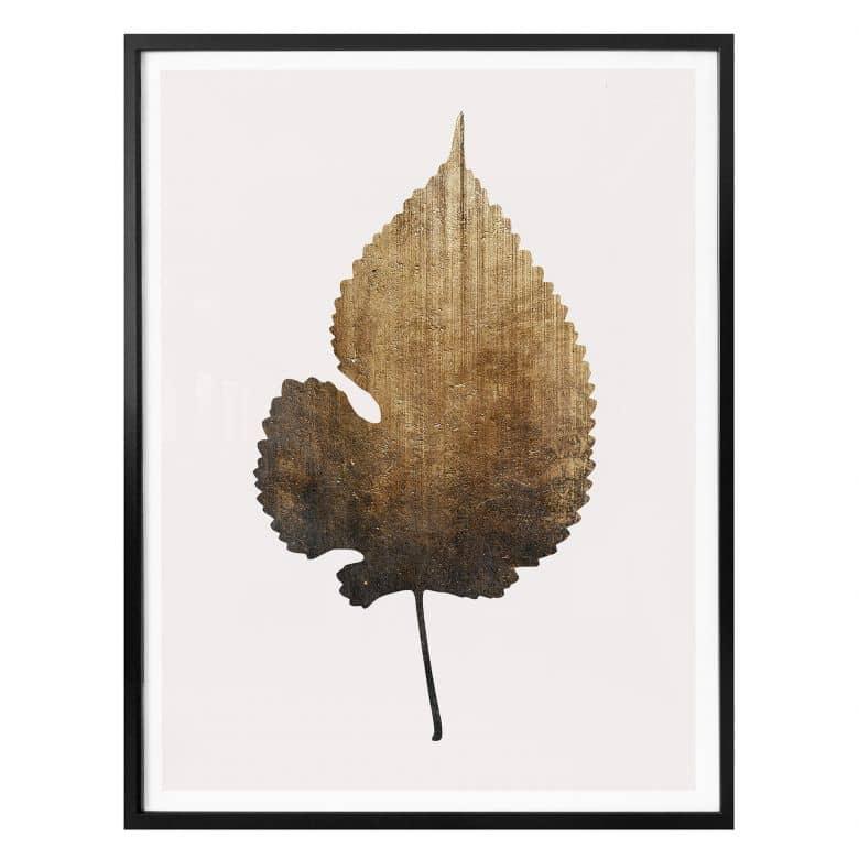 Poster Kubistika – Goldenes Blatt
