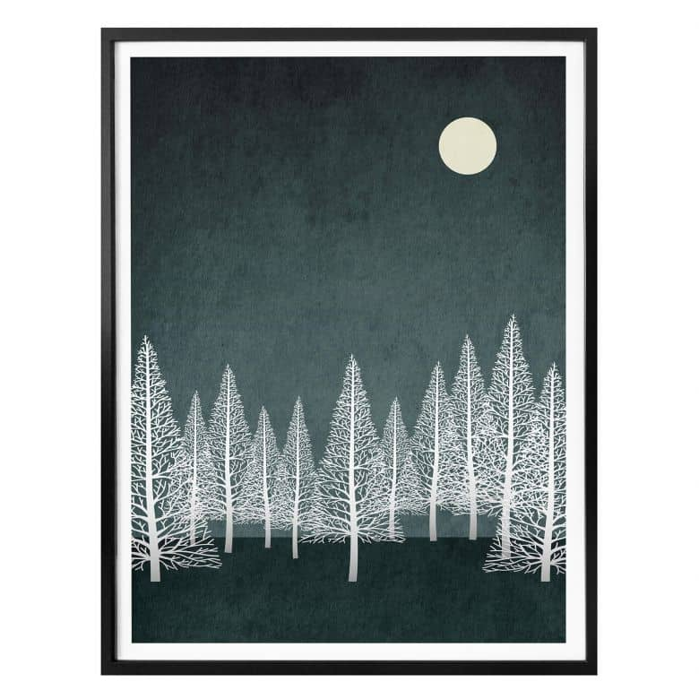 Poster Kubistika - A small winter moon
