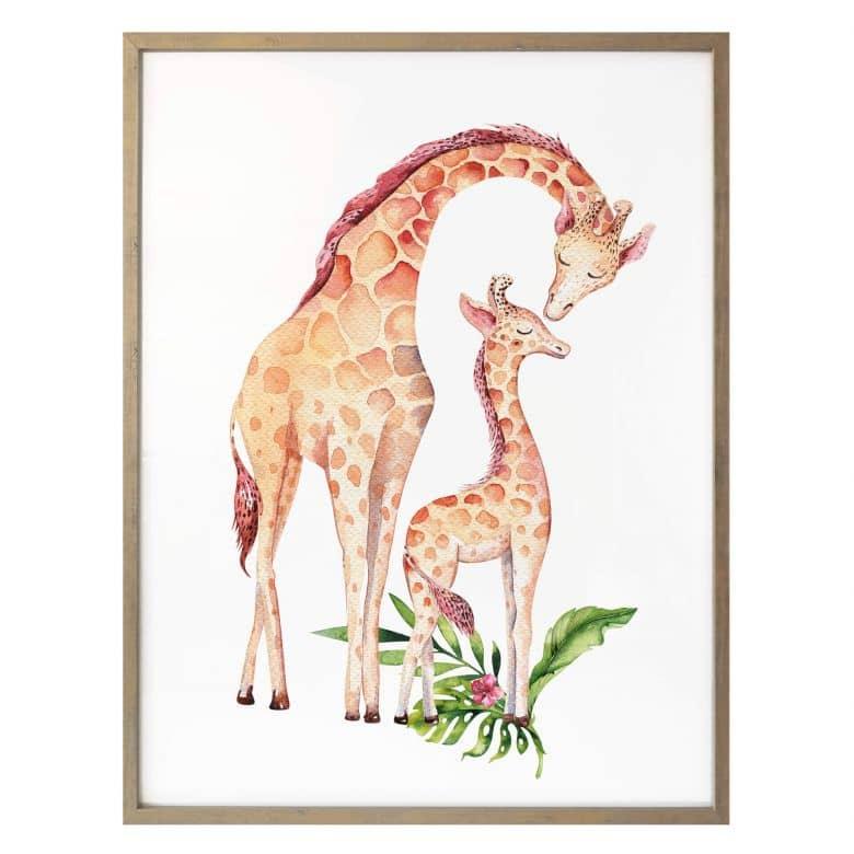 Poster Kvilis – Moeder en kind giraf