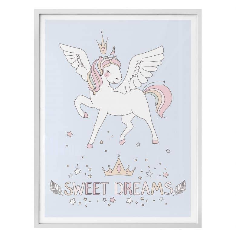 Poster Kvilis - Sweet Dreams - Einhorn mit Krone