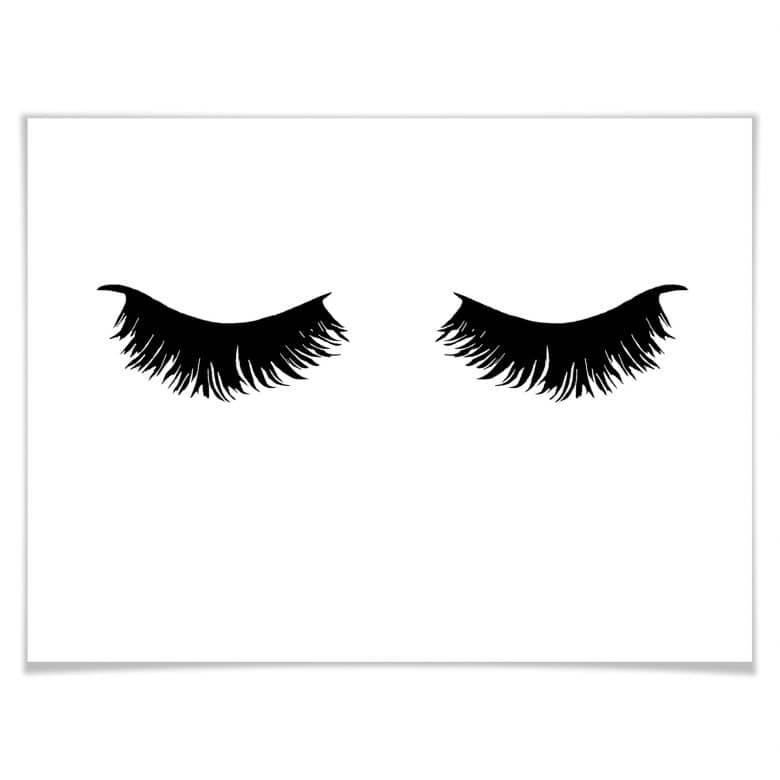 poster lashes 01 wimpern schwarz wei wall. Black Bedroom Furniture Sets. Home Design Ideas