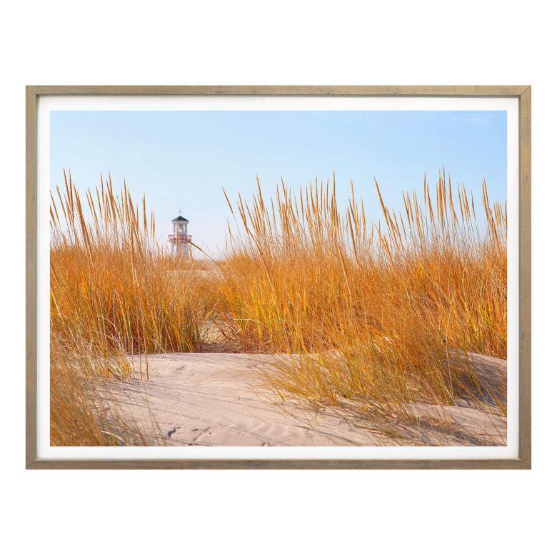 Poster Leuchtturm im Strandfeld