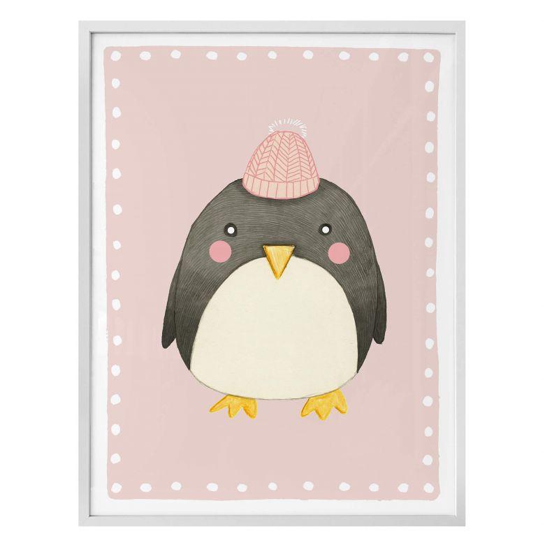 Poster Loske - Pinguin - rosa