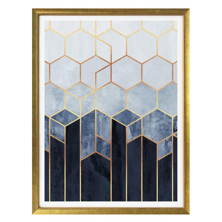Poster Fredriksson - Blue & White Hexagons