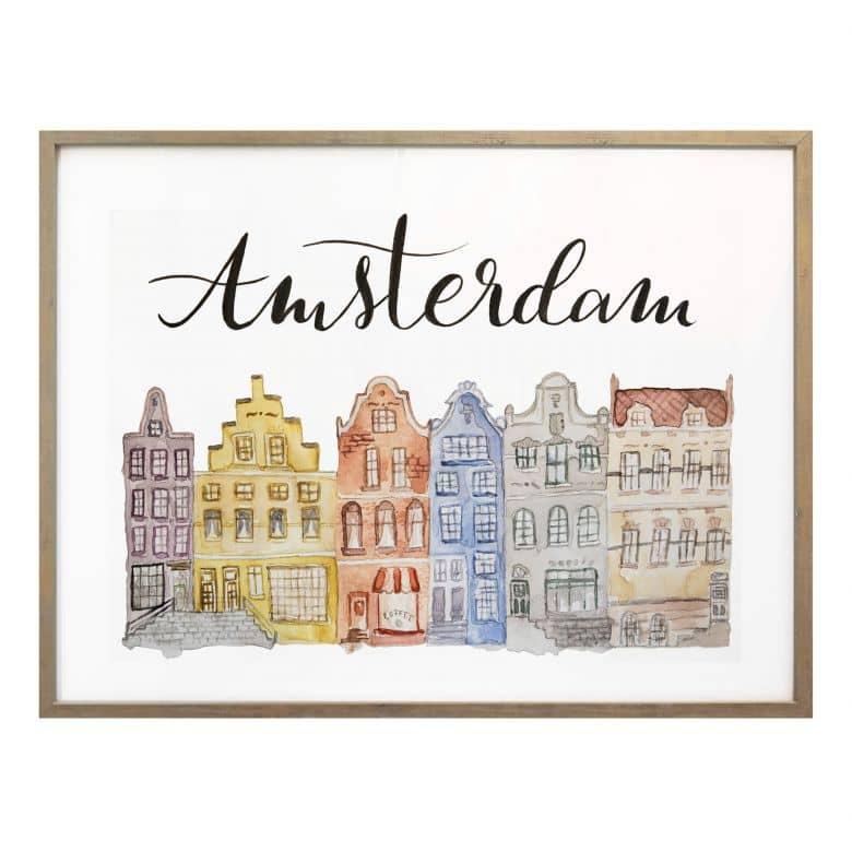 Poster Skyline of Amsterdam - Aquarell