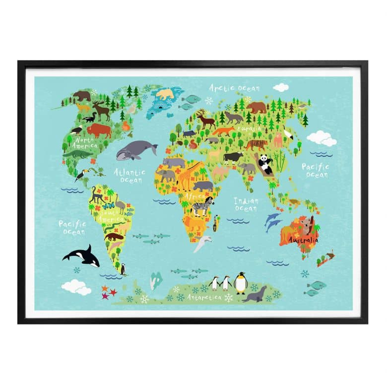 Poster Tierische Kinder Weltkarte