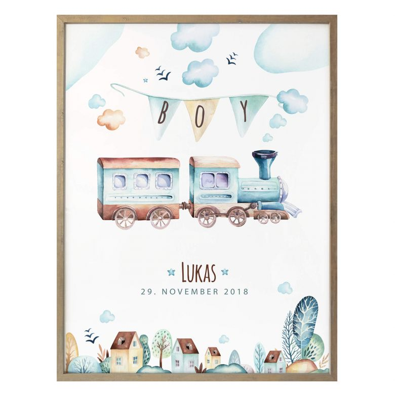 Poster Kvilis - Locomotive + Name and Date