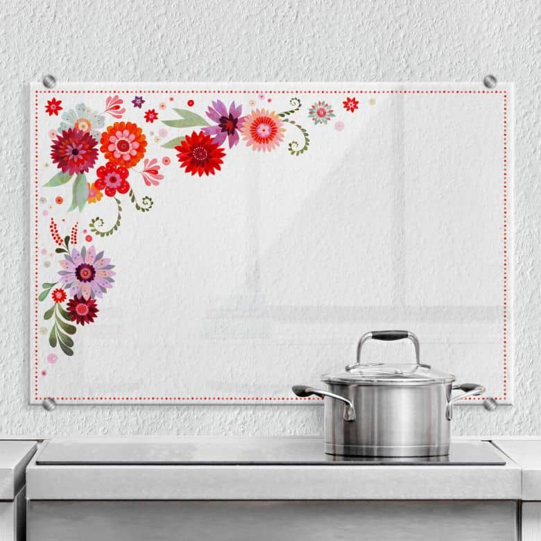 Spritzschutz transparent Blanz - Blütentraum