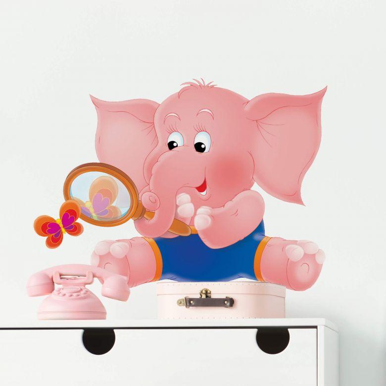Sticker mural - Éléphante rose