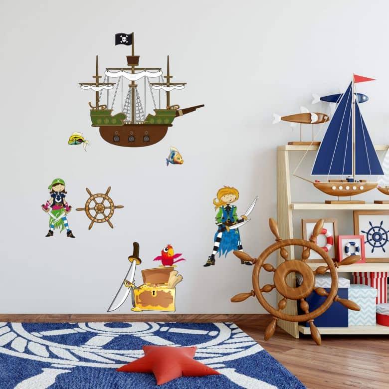 Muursticker Piratenwereld 1