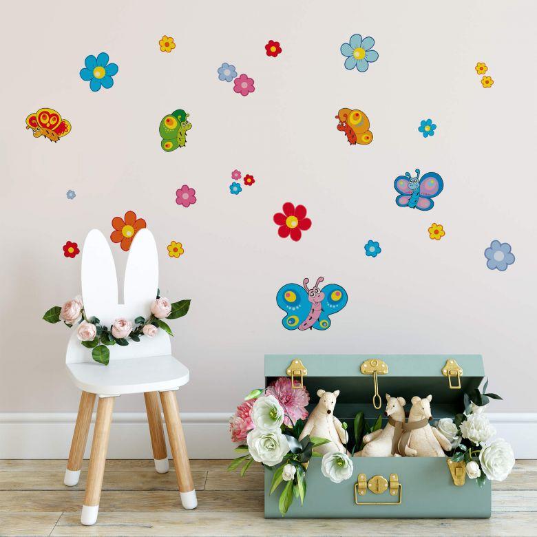 Sticker mural - Set de Fleurs et Papillons