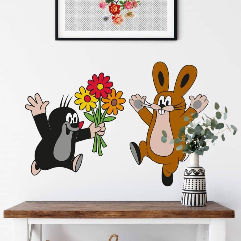 Wandtattoo Maulwurf Blumenstrauss an Hase
