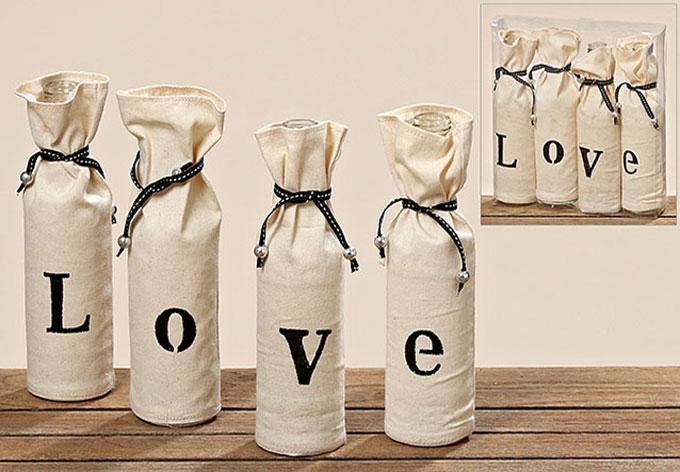 4 Romantische Vasen mit dem Schriftzug LOVE | wall-art.de