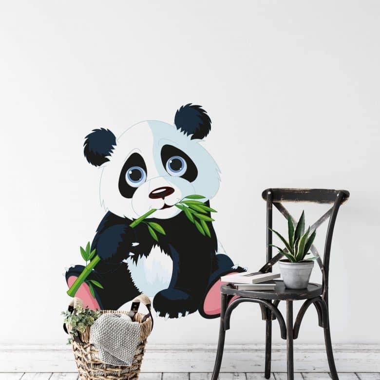Sticker mural - Panda grignotant