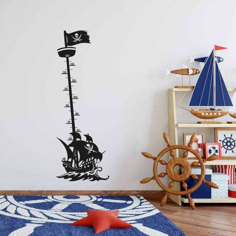 Wandtattoo Messlatte Piratenschiff