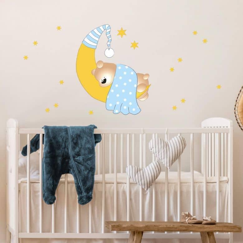 Sticker mural - Ourson, lune et étoiles  (bleu)
