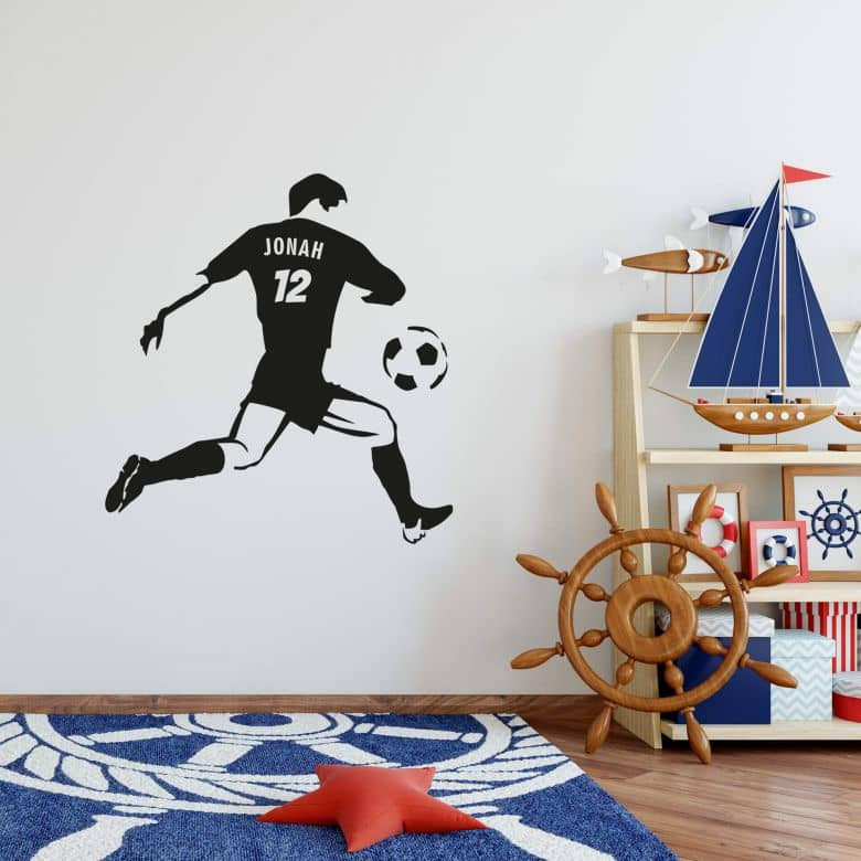 Name + Soccerplayer Wall sticker