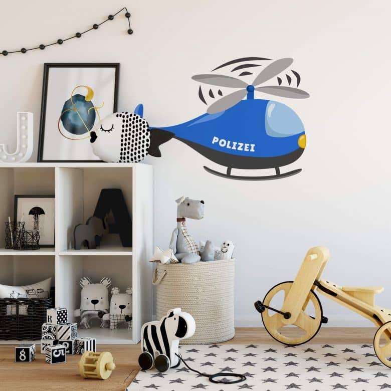 Wandtattoo Polizei Hubschrauber Wall Art De