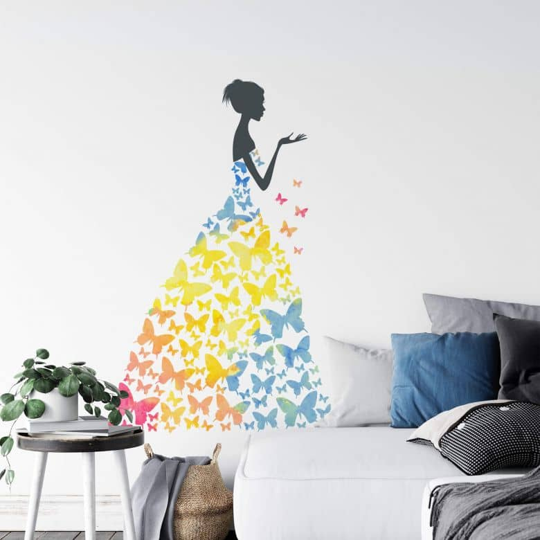 Aquarell Lady with Butterflies Wall Sticker