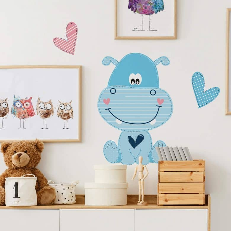 Sticker mural - Hippopotame heureux