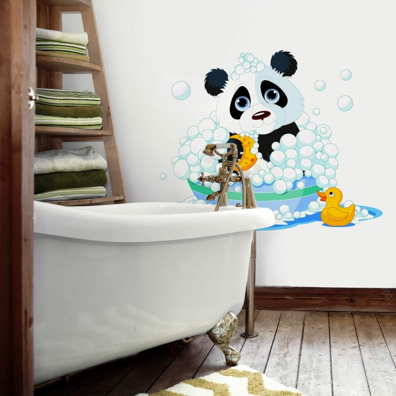 Panda in Bubble Bath - Wall Sticker