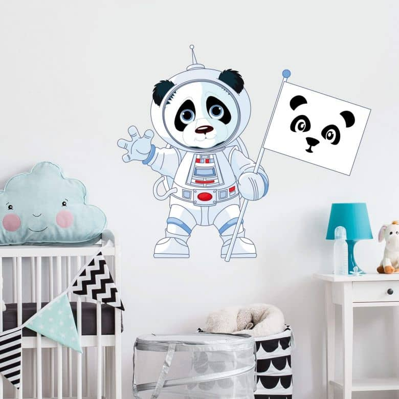 Muursticker Panda als Astronaut